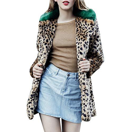 - Faionny Women Faux Fur Jacket Coat Leopard Print Windbreaker Notch Collar Cardigan Coat Solid Coat Long Sleeve Blazer Paka
