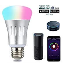 Smart WiFi LED Light Bulb - 60W Equivalent Multi-Color LED Lightbulb, Change Color, Dime the Light, Set Timer and Schedule, Turn On/Off Remotely All with Free APP on Smartphone or Tablet, Voice Control using Amazon Alexa or Google Home