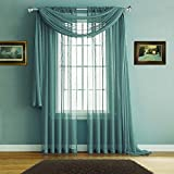 Warm Home Designs Premium Quality 54 X 216 Inches Sheer Sea Green Window Scarf. All Extra Long Valance Scarves Look Great as Window Toppers for Any Room in The House. J Sea Green 216''