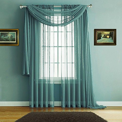 Warm Home Designs Pair of Premium Quality Extra Long 54 x 108 Inch Sheer Sea Green Faux-Linen Rod Pocket Curtains. Total Width of Affordable Drape Panels is 108
