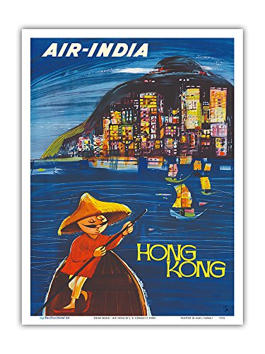 Hong Kong Maharaja - Air India - Vintage Airline Travel Poster by J. B. Cowasji c.1950s - Master Art Print - 9in x 12in