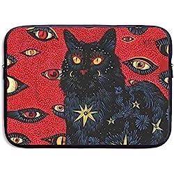 Gao808yuniqi estilo de pintura al óleo, muchos ojos, gato negro funda de hombro para portátil, funda protectora compatible con MacBook Pro de 13 a 15 pulgadas, portátil, funda delgada, Negro, 15 pulgadas