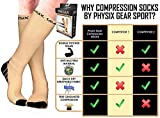 Physix Gear Compression Socks for Men & Women 20-30 mmhg, Best Graduated Athletic Fit for Running Nurses Shin Splints Flight Travel & Maternity Pregnancy -Boost Stamina Circulation & Recovery NUDE LXL
