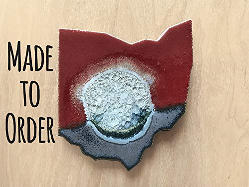 (OHIO STATE Geode Crackle Coaster, Individual Coaster, Geode Coaster, Agate Coaster, Fused Glass Coaster, Crackle Glass Coaster, Dock 6 Pottery Coaster, Dock 6 Pottery, Kerry Brooks Pottery)