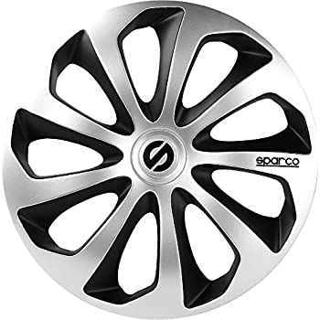 Sparco Sicilia Wheel Covers, Silver/Black, Set of 4, 14