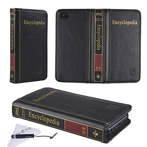 Eco-Fused Handmade Faux Leather Classic Book Case compatible with Apple iPhone 5 also includes 1 Short Stylus and 1 Eco-Fused Microfiber Cleaning Cloth (Encyclopedia/black)