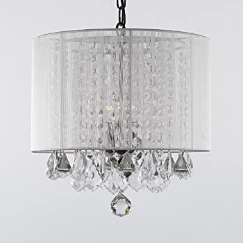 Crystal chandelier chandeliers with large black shade h15 x w15 crystal chandelier chandeliers with large white shade mozeypictures Images