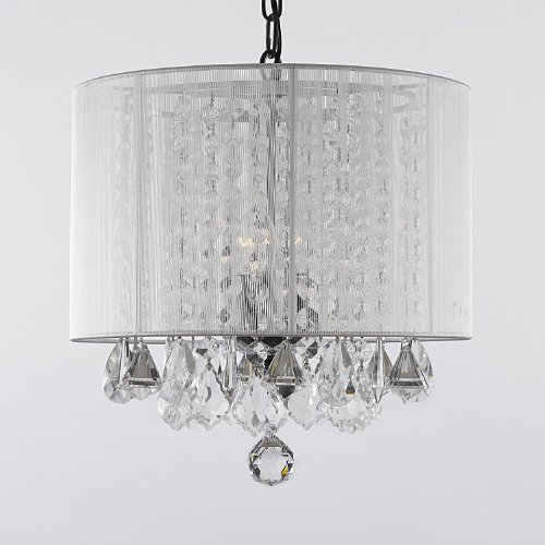 Crystal Chandelier Chandeliers With Large White Shade! H15  x W15  & Bathroom Chandelier: Amazon.com azcodes.com