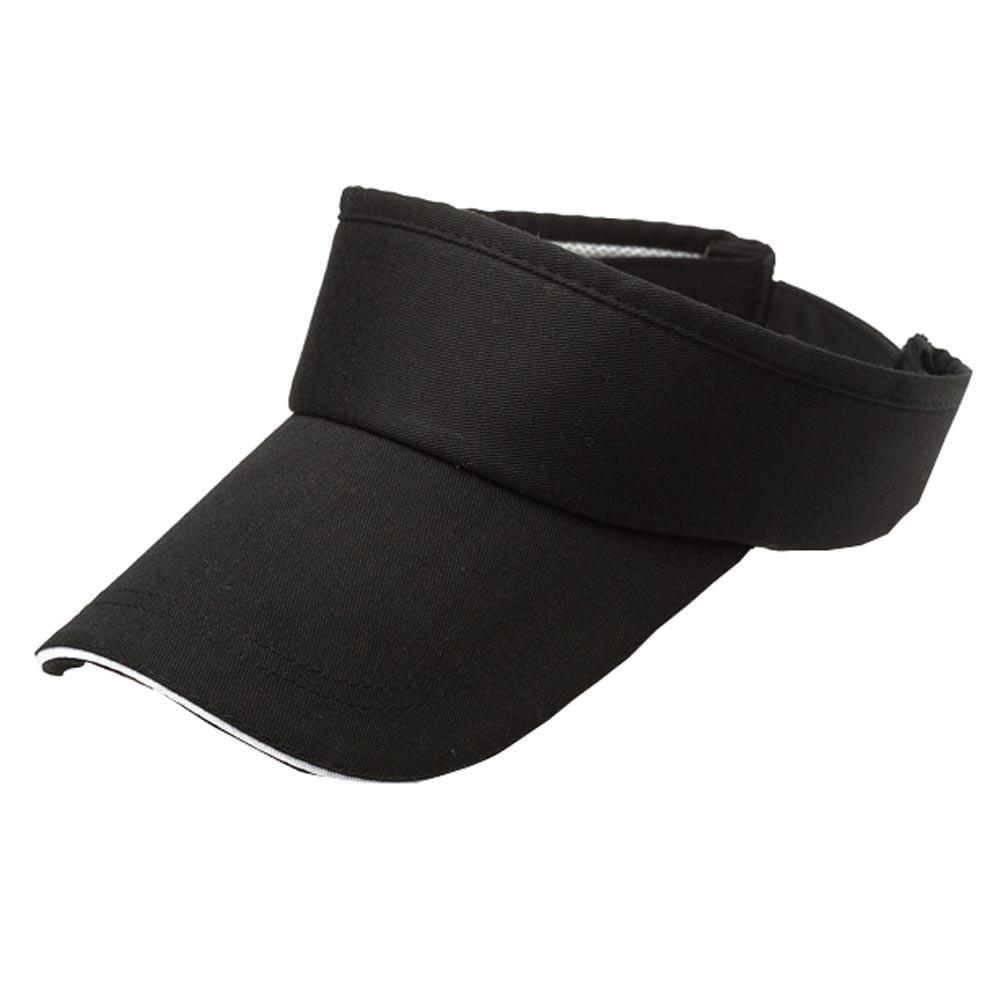 Adult Athletic Mesh Visor Men Women Sport Sun Visor Adjustable Cap (Black)