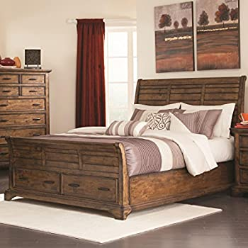 Amazoncom Coaster Elk Grove Queen Sleigh Bed with Drawers in