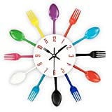 Kitchen Wall Clock, Timelike 3D Removable Modern Creative Cutlery Kitchen Spoon Fork Wall Clock Mirror Wall Decal Wall Sticker Room Home Decoration (Colorful)