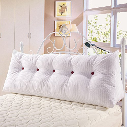WOWMAX PP-Cotton Filled Triangular Wedge Pillow Positioning Support Reading Backrest Cushion Sofa Bed Day Bed Upholstered Headboard Removable Washable Cover Off-White Linen 71 inches by WOWMAX (Image #3)