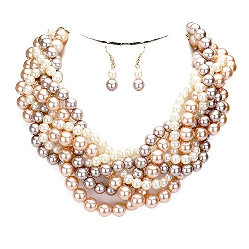 Fashion 21 Women's Simulated Faux Braided, Twist Multi-Strand Pearl Statement Necklace and Earrings Set (Braided - Light Brown Mix)