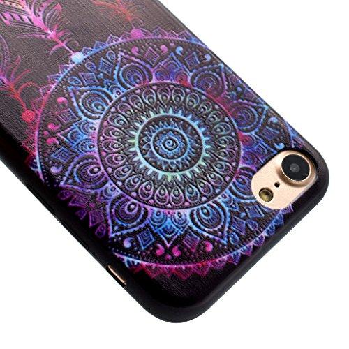 Carcasa iPhone 7 Plus, IJIA Ultrafino Negro Atrapasueños TPU Silicona Suave Funda Carcasa Tapa Caso Parachoques Cubierta para Apple iPhone 7 Plus (5.5) + 24K Etiqueta Engomada