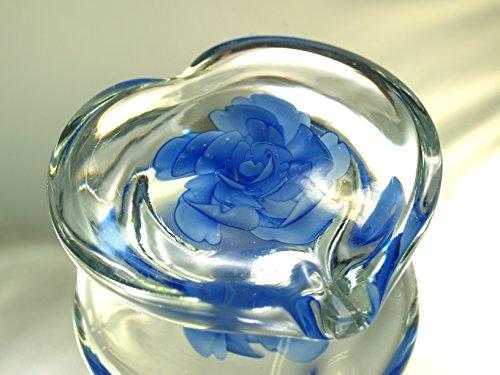 - M Design Art Handcraft Glass Art Sapphire Blue Flower in Glass Heart Paperweight