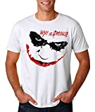 AW Fashion's The Dark Knight Movie - Joker 'Why So Serious' - Superhero Premium Men's T-Shirt (Medium, White)