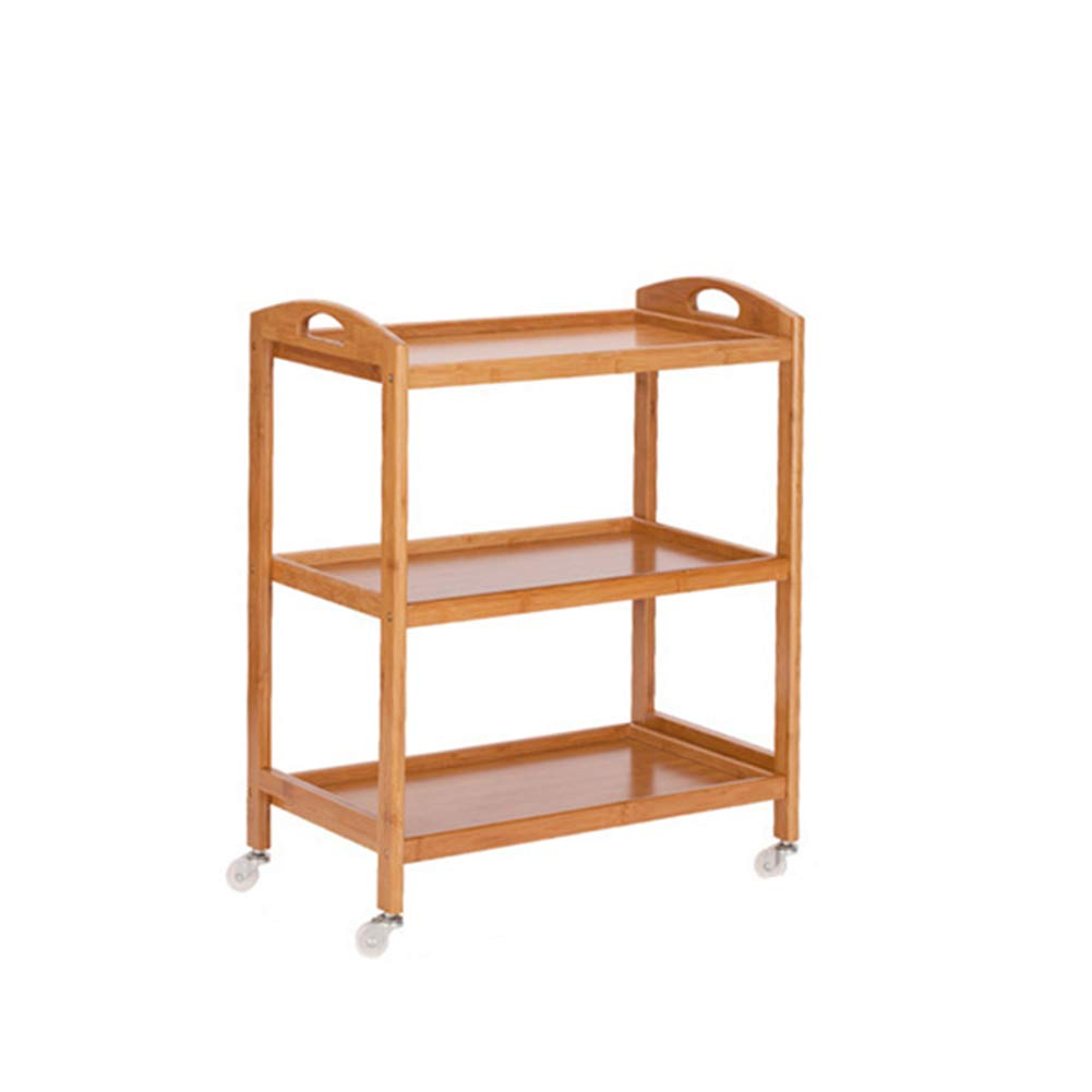 73cm Dining Trolley Rolling Kitchen Wooden Trolley Cart,Storage Portable Stand Countertop Home Kitchen Shelves and Organizer W Wheels,Multi-Function Mobile Kitchen Cars with Brake