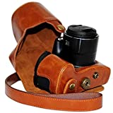 First2savvv XJPT-SX60-A09 brown full body Precise Fit PU leather digital camera case bag cover with should strap for Canon PowerShot SX60 HS