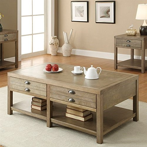 Coaster Home Furnishings Casual Coffee Table, Light (Leg Square Oak Cocktail Table)