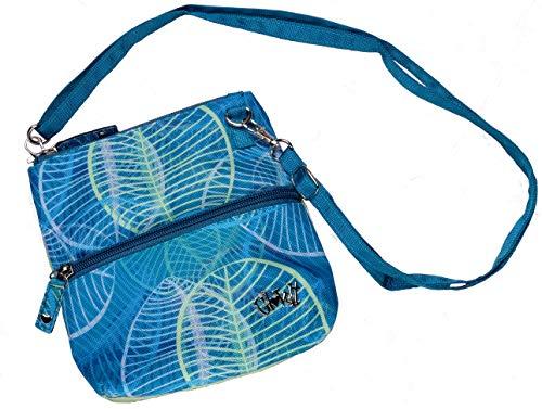 Glove It Women's Golf Accessory Bag Ladies Detachable Strap Accessories Bag - 2 Pouch Zipper Bag - Cross Body Carry All Organizer, Aqua Leaf