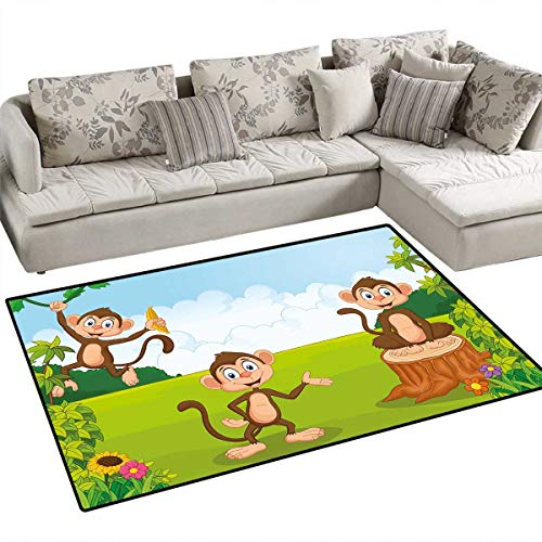 Nursery Anti-Skid Rugs Three Monkeys Playing in a Tropical Forest Banana Africa Safari Nature Girls Rooms Kids Rooms Nursery Decor Mats 48