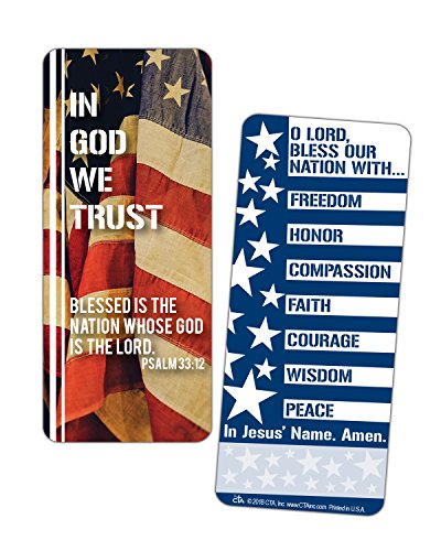 In God We Trust American Flag 2.5 x 6.5 Inch Laminated Jumbo Bookmark Pack of 2