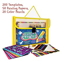 Drawing Stencils Art Set for Kids. 200+ Templates, 50 Decorated Painting Papers, 20 color Pencils, Carry Case. Great for Children Learning Letters, Numbers, Animals. Christmas Gift for Boys & Girls