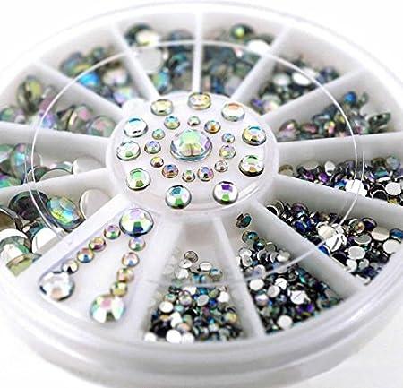 ULOOIE Creative Nail (Color Blanco AB imitación de Diamante Caja ...