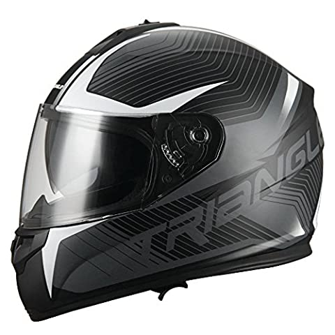 Triangle Full Face Dual Visor Matte Black Street Bike Motorcycle Helmet (Large, Matte White) - White Full Face Helmet