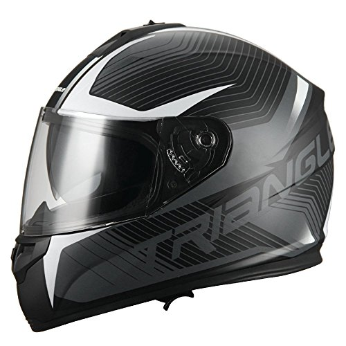 Triangle Full Face Dual Visor Matte Black Street Bike Motorcycle Helmet (Large, Matte White)