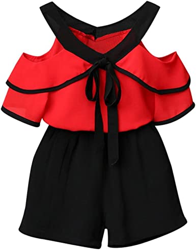 Efaster Toddler Baby Girls Solid Off Shoulder Tops+Bowknot Pleated Skirt Set