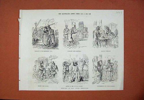 old-print Print 1873 Vienna Exhibition Geologist Jeweller Beer-Garden (Old Vienna Beer)