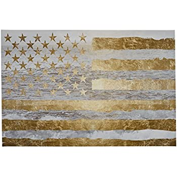 Rivet Gold American Flag by the Sea on Canvas, 36