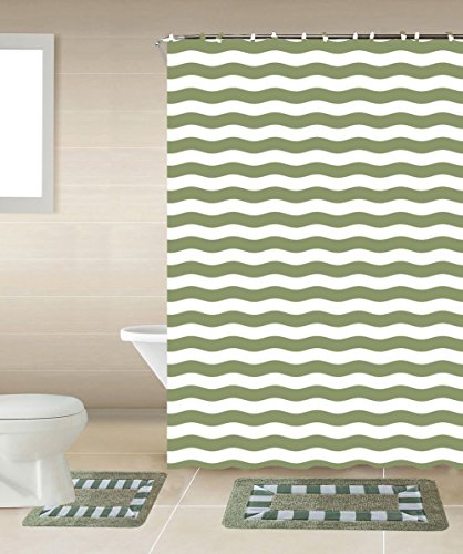 Stripes 15-piece Bathroom Accessories Set Rugs Sower Curtain & Matching Rings Black Striped Green & White