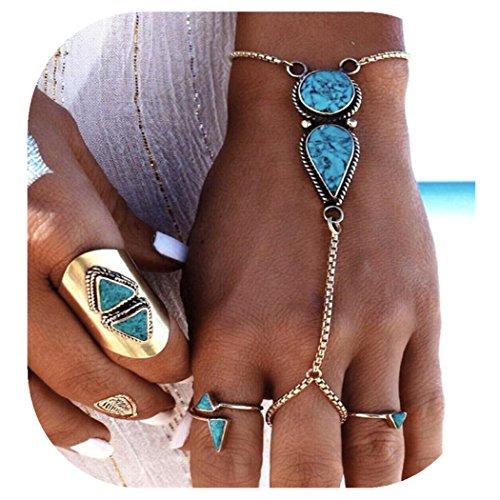 Molyveva Elegant Turquoise Finger Ring Bracelet Attached Link Hand Harness Bangle for Summer Beach Bikini