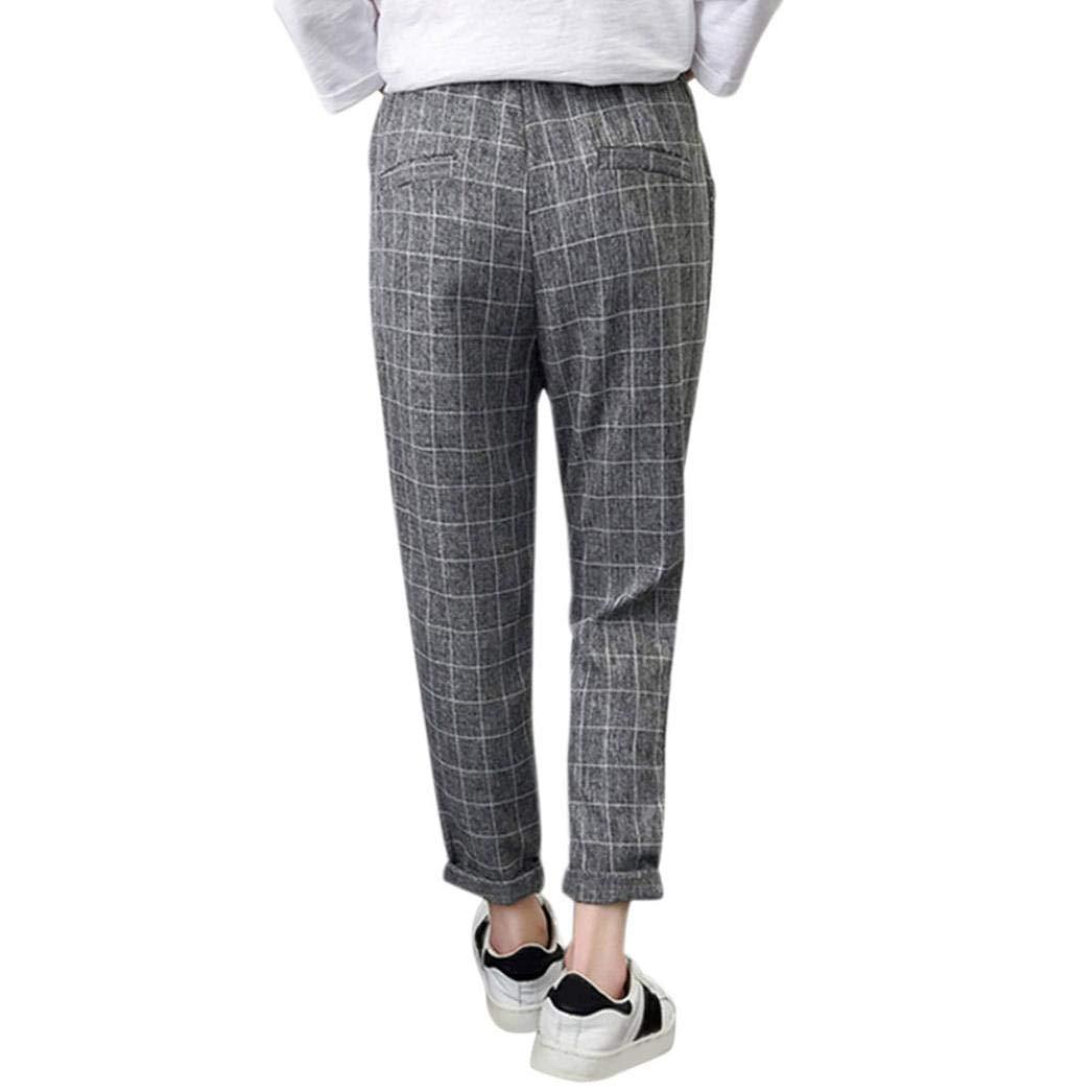 ZHRUI A Cuadros de Cintura elástica para Mujer Pantalones Sueltos de Negocios  Pantalones (Color   Gris d03831509270