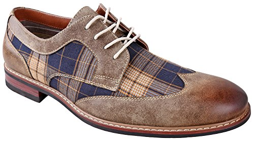 - Ferro Aldo Julian MFA19266APL Mens Casual Plaid Wing Tip Perforated Mid -Top Brogue Oxford Dress Shoes – Brown, Size 11