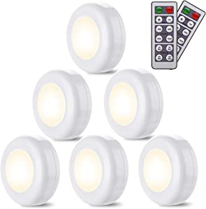 LED Closet Lights Elfeland 6 Pack Wireless LED Puck Light Under Cabinet Lighting with Remote Control Timer Function Under Counter Lighting Dimmable Battery Powered Night Lights Stick On Light(White)