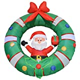 Impact Canopy 513001000-VC Santa with Wreath Inflatable Holiday Decoration, 4'
