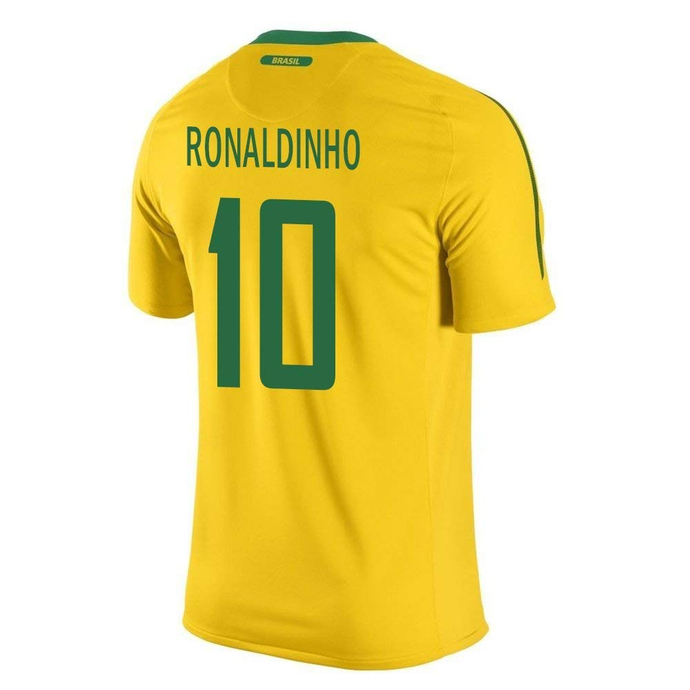 Amazon.com: Ronaldinho #10 Brazil Home Soccer Jersey Youth. (YXS) Yellow  (0014181580725): Books