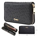 Aitbags Women Soft Ostrich Grain Leather Wallets for Women Zippered Arround Clutch Purse Reviews (Free Shipping Available)