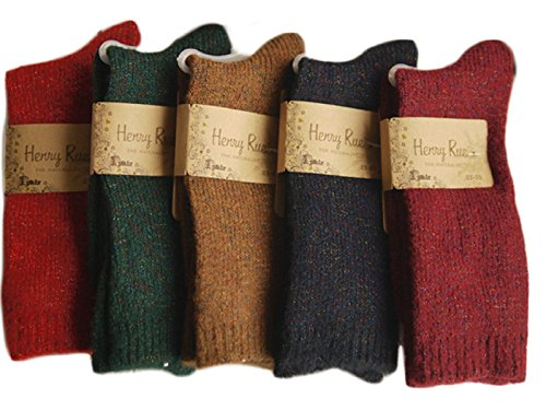Lovely Annie Women's 6 Pairs Pack Thick Streatcheable Multicolored Crew Socks(6 Colors)