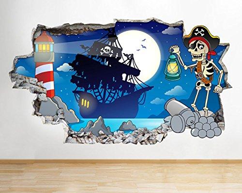 G901 Pirate Skeleton Ship garçons Smashed  Autocollant Chambre 3D Vinyle enfants