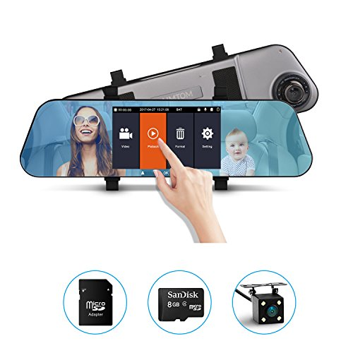 AIMTOM ND-10 Full HD 1080P Car Camcorder, 5.0-Inch IPS Display Screen Dashboard Camera, Vehicle Driving Video Recorder, Front and Rear View DVR, Dual Lens Mirror Dash Cam, 8G Micro SD TF Card Included