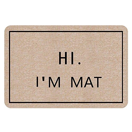 NINNAYUAN Hi Im Mat_ lovely outdoor/indoor doormat(23.6x15.7 inch) (natural color)