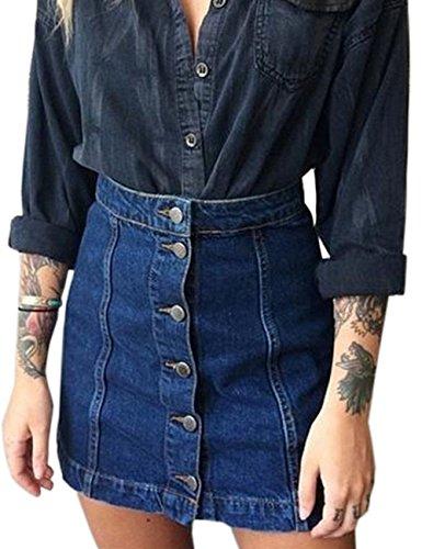 Dark Denim Mini Skirt (Aiyig Women Girls High Waist A-Line Button-Front Denim Mini)