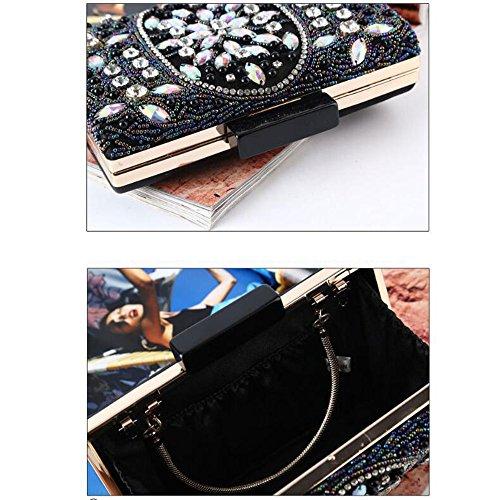 in donne rilievo Joy le di in per pochette festa di Vintage con nozze per da Elegante da la Miss borsa paillettes per perline sposa perline Black sera pochette per notturne da feste club di borsa matrimoni P6Otq