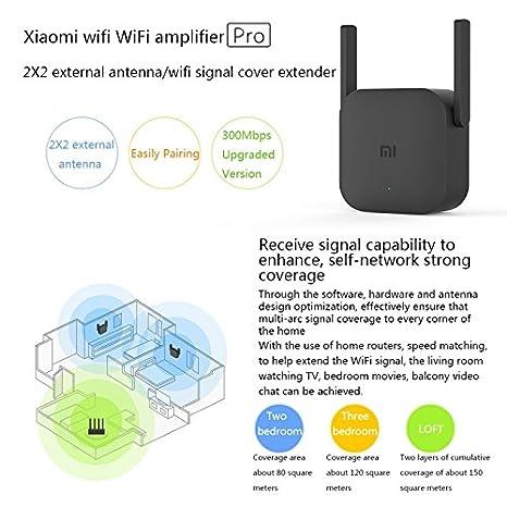 Wewoo Router Xiaomi WiFi Amplificador Pro 300 Mbps Inteligente con 2 x 2 Antenas externas Negro: Amazon.es: Electrónica