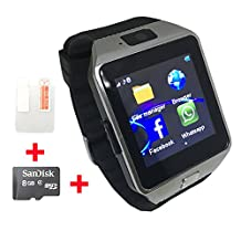 OCTelect GSM smart watch DZ09 with three LED lights & large capacity battery (silver)