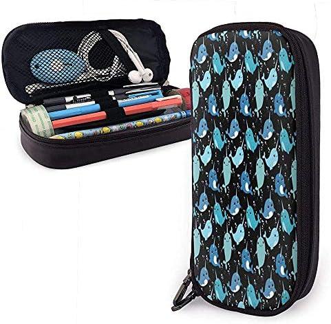 Estuche de lápices de cuero con patrón de narval lindo Bolso cosmético de gran capacidad Bolso de bolígrafo: Amazon.es: Oficina y papelería